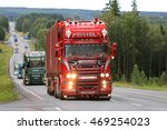 Small photo of IKAALINEN, FINLAND - AUGUST 11, 2016: Red Scania R450 year 2016 Omerta of Weeda Transport from Holland takes part in truck convoy to Power Truck Show 2016 in Alaharma, Finland.