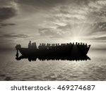 refugees concept. boat with... | Shutterstock . vector #469274687