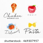 set of watercolor labels... | Shutterstock .eps vector #469307957