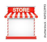 store front with red awning.... | Shutterstock .eps vector #469313993