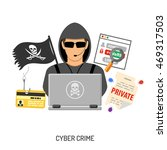 cyber crime concept with flat... | Shutterstock .eps vector #469317503