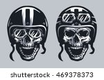 skull biker in helmet and... | Shutterstock .eps vector #469378373