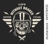 racer skull in helmet  vintage...   Shutterstock .eps vector #469378433