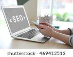 seo technology concept. woman... | Shutterstock . vector #469412513