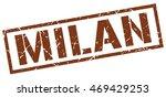 milan stamp. brown square milan ... | Shutterstock .eps vector #469429253