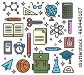 school supplies background with ... | Shutterstock .eps vector #469440107
