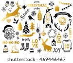 hand drawn black and golden... | Shutterstock .eps vector #469446467