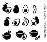 avocado cut in half  fruit ... | Shutterstock .eps vector #469447607