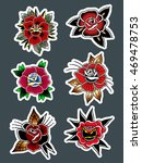 traditional tattoo flowers set... | Shutterstock .eps vector #469478753