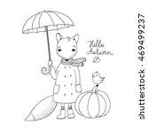 Cute Cartoon Fox Under An...