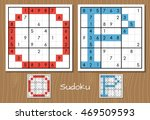 sudoku vector puzzles with... | Shutterstock .eps vector #469509593