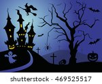 halloween scene with tree and... | Shutterstock .eps vector #469525517