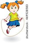 redhead girl jumping rope | Shutterstock .eps vector #469528583