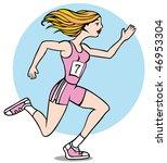 cartoon of woman running a race ... | Shutterstock . vector #46953304