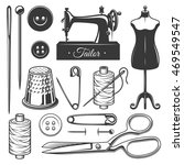 set of vintage monochrome... | Shutterstock .eps vector #469549547