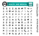set of 100 icons of health and... | Shutterstock .eps vector #469554653