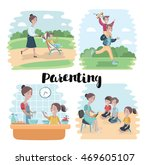 cartoon vector  mother walking... | Shutterstock .eps vector #469605107