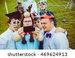 man in deer hat makes a selfie...   Shutterstock . vector #469624913