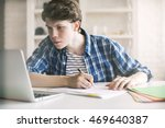 close up of casual guy working... | Shutterstock . vector #469640387