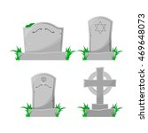 Set Of Cartoon Grave. Vector...