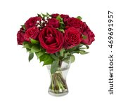 Stock photo beautiful red roses in a vase on a white background 469691957