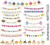 colorful flags  garlands set... | Shutterstock . vector #469776113
