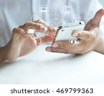 man using mobile payments ... | Shutterstock . vector #469799363
