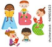 children reading a book | Shutterstock .eps vector #469801823