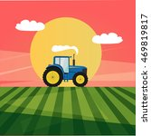 flat tractor in a field image | Shutterstock .eps vector #469819817