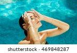 beautiful woman in the pool... | Shutterstock . vector #469848287