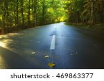 Small photo of Desert asphalted road leaving for turn in the autumn forest. Bright yellow and red leaves, bend and sunshine in autumn day. National Park Acadia, Maine, USA
