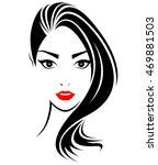 women long hair style icon ... | Shutterstock .eps vector #469881503