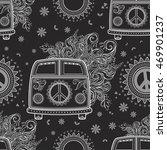 Hippie Vintage Car A Minivan...
