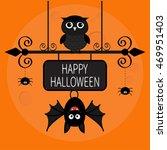 happy halloween card. bat... | Shutterstock .eps vector #469951403