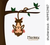 tree leaves monkey cartoon... | Shutterstock .eps vector #469952987