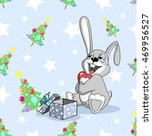 bunny and one gift christmas...   Shutterstock .eps vector #469956527