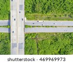 Top View City Highway And...