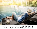 relax in the pool. young and... | Shutterstock . vector #469989317