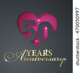 gold 50 years anniversary red... | Shutterstock .eps vector #470050997