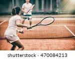 tennis players playing a match... | Shutterstock . vector #470084213