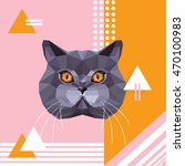 british shorthair cat breed... | Shutterstock .eps vector #470100983