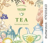 tea vector card design  vintage ... | Shutterstock .eps vector #470101613
