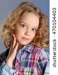 little blonde girl with curly...   Shutterstock . vector #470104403