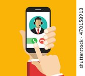 hand holding smartphone to call ... | Shutterstock .eps vector #470158913