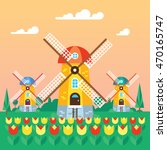 windmill flat design vector...