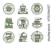 label set for restaurant coffee ... | Shutterstock .eps vector #470196437