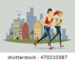 healthy lifestyle people flat... | Shutterstock .eps vector #470210387