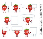 set of cartoon strawberry... | Shutterstock .eps vector #470274257