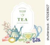 tea vector card  tea elements...
