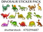 different kinds of dinosaurs in ... | Shutterstock .eps vector #470294687